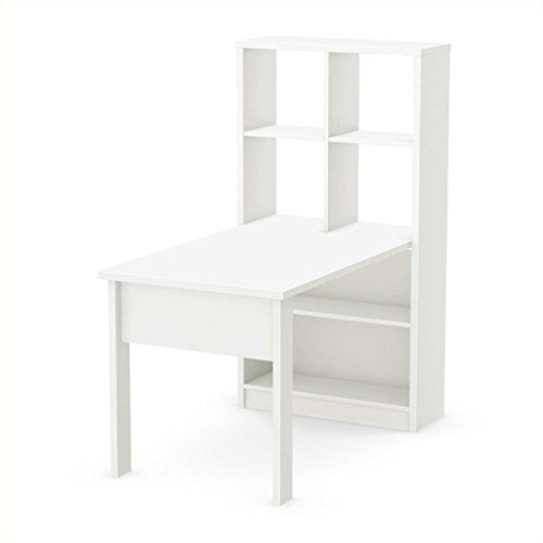 South Shore Work Table for 2 and Storage Unit Combo, Pure White