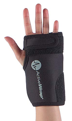 AW ACTIVEWRAP Flexible Heat or Ice Compression Support for Hand Injury, Sprained Wrist, Pain, Arthritis, Post Surgery Hot Cold Therapy Wrist Wrap - Reusable Hot/Cold Gel Packs Included