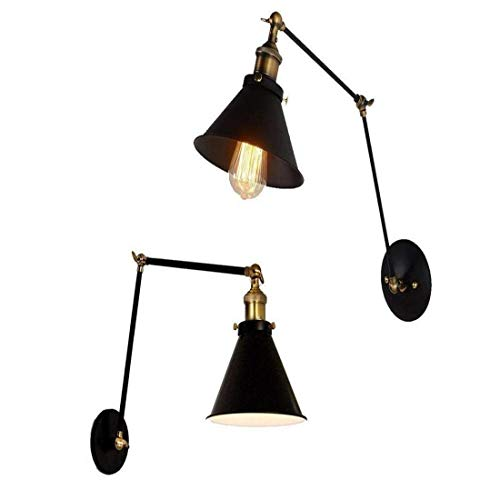 Aged Steel Finished Wall Sconces Black Finish Light Wall Light Fixture Industrial Edison Double Swing Arm 1 Light Wall Mount Light LED Home Lighting