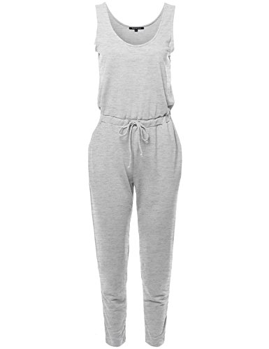 Made by Emma Solid Sleeveless Elastic Waist Fixed Straps Long Jumpsuit Heather Gray L (Jumpsuit Terry)