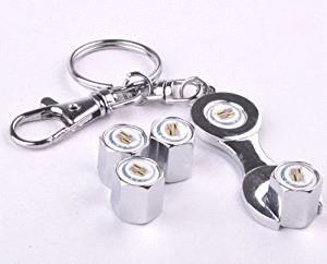 Combo Set Chrome Tire Valve Stem Caps and One Wrench Keychain Fit For Cadillac Car Model