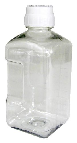Nalgene 2019-2000 Sterile Media Bottle, Square, PETG, 2000mL (Case of 12)