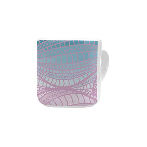 - Abstract White Heart Shaped Mug,Wavy Curvy Stripes with Dots and Lines Funky Ethnic Spring Storm Decorative for Home,2.56