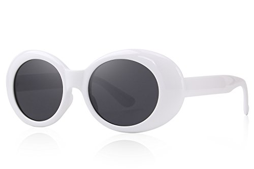 MERRY'S Clout Goggles Oval Mod Retro Vintage Inspired Women Sunglasses Round Lens S6124 (White, - Oval Sunglasses White