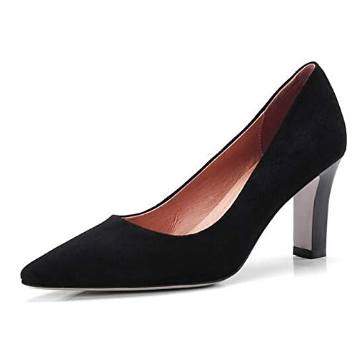 Noir ZHZNVX Chaussures Femme Daim Printemps Confort Talons Talon Aiguille Noir Rose 38.5 EU