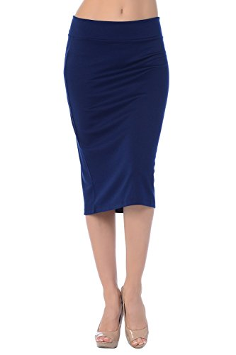 Jubilee Couture Women's Ponte Roma Midi Pencil Skirt (3X, Navy)