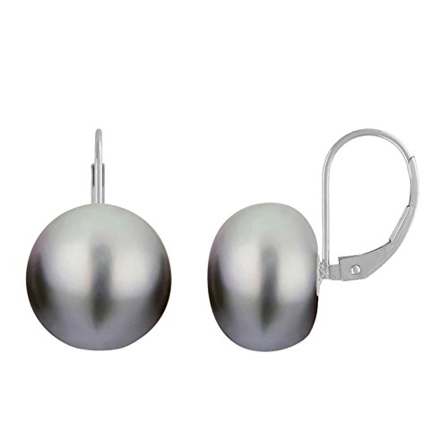 Grey Pearl Earrings Leverback Silver Genuine Button Freshwater Pearls Cultured 13mm Hypoallergenic - Button Grey Pearl