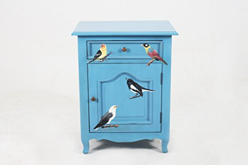 Cheap NES Furniture amz10170 Fine Handcrafted Sophie Forest Birds Solid Mahogany Wood Bedside Cabinet/End Table, 28-Inch, Blue