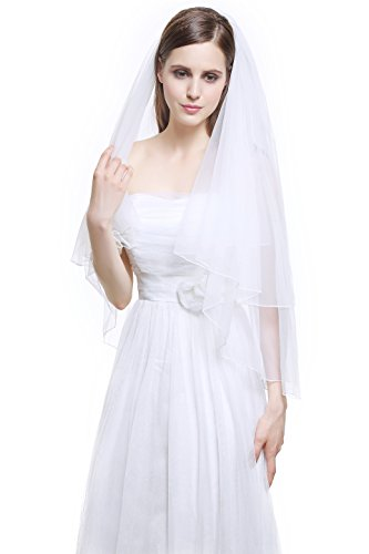 Tiara Cut Edge (MISSYDRESS 2T Fingertip Wedding Bridal Veil Pencil Edge with Comb-V38 White)