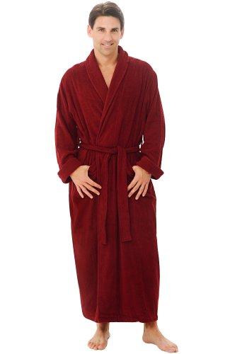 Alexander Del Rossa Mens Turkish Terry Cloth Robe, Long Cotton Bathrobe, 1XL 2XL Burgundy (A0126WNE2X)