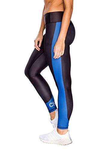 CHRLDR Women's Striped Logo Legging (Black/Blue) - -