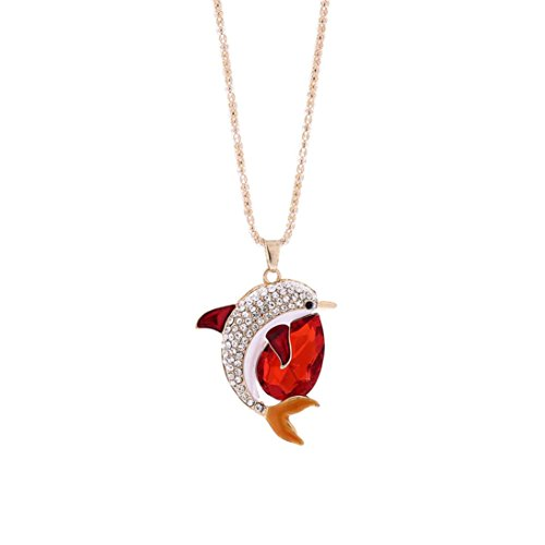 Engagement Pendant Necklace (Exquisite Crystal Rhinestone Dolphin Necklace, Unpara Fashion Women Charm Bridal Engagement Cute Pendant Sweater Necklace (Red))