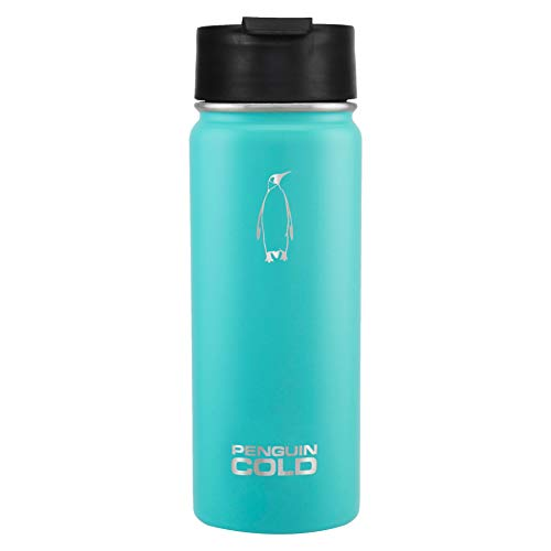 Penguin Bottle - Penguin Cold Insulated Water Bottle | 18oz Wide Mouth Stainless Steel Water Bottle | Coffee to Go, BPA-Free, Double-Wall Vacuum Insulated, 18/8 Stainless Steel (Teal)