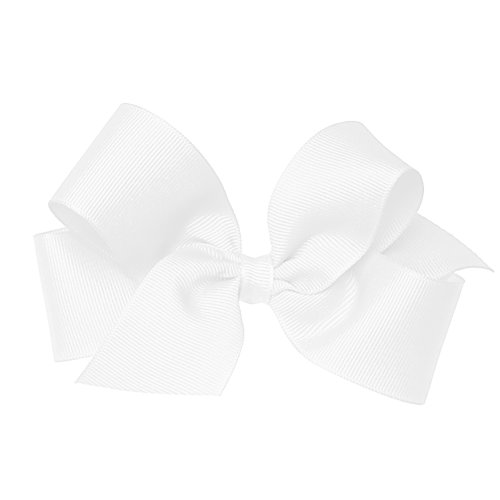 Wee Ones Baby Girls Medium Grosgrain Hair Bow On A Weestay Clip W Plain Wrap   White