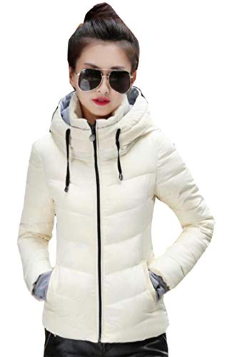 Gocgt Womens Warm Without Weight Women's Ultralight Down Jacket with Hood White