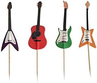 Amazon Com Guitar Rock Music Theme Cake Cupcake Toppers Picks For