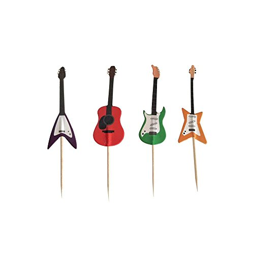 Guitar Rock Music Theme Cake Cupcake Toppers Picks