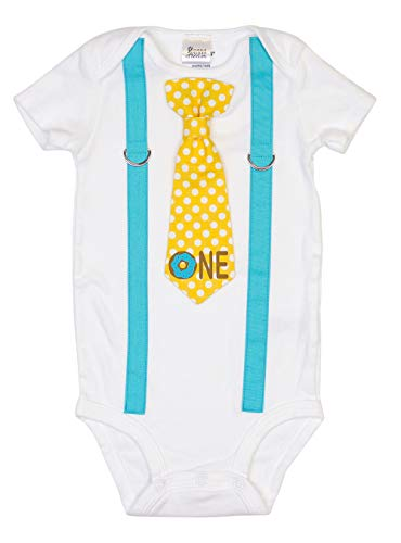 Cuddle Sleep Dream Baby Boy 1st Birthday Outfit Cake Smash Bodysuit with Tie and Suspenders Birthday Shirt (18 Month, Donut)