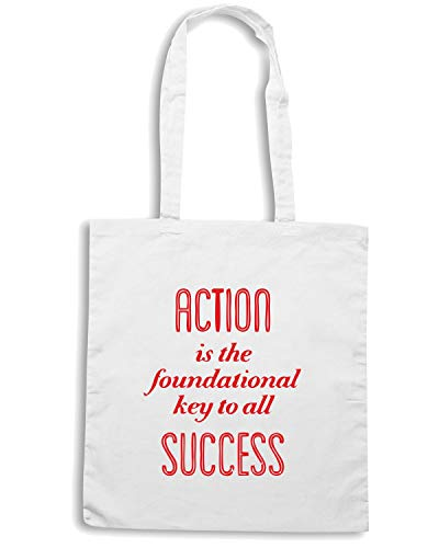 Speed Shirt Borsa Shopper Bianca CIT0181 PABLO PICASSO ACTION IS THE FOUNDATIONAL KEY TO ALL SUCCESS