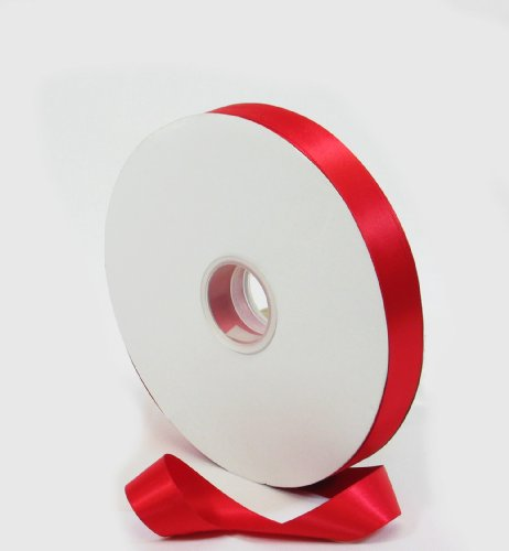 Single Face Satin Craft Gift Ribbon 7/8 inch by 100-Yard Spool, Red