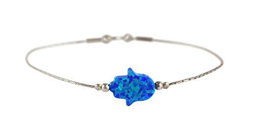 Luck Blue Evil Eye Bracelet - Hamsa Bracelet Multi Color Created Opal Charm Judaica Kabbalah Evil Eye Hand Sterling Silver Chamsa Bracelet (Blue)