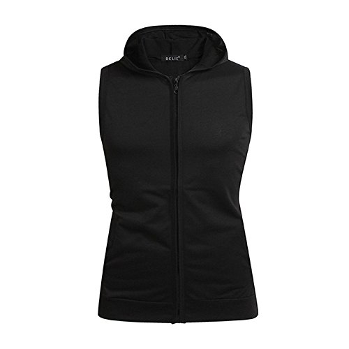 Kaniem Mens Tank Top Hoodie, Slim Fit Sleeveless Zip Up Hooded Breathable Workout Vest (XXXL, Black) (Wearhouse Online)