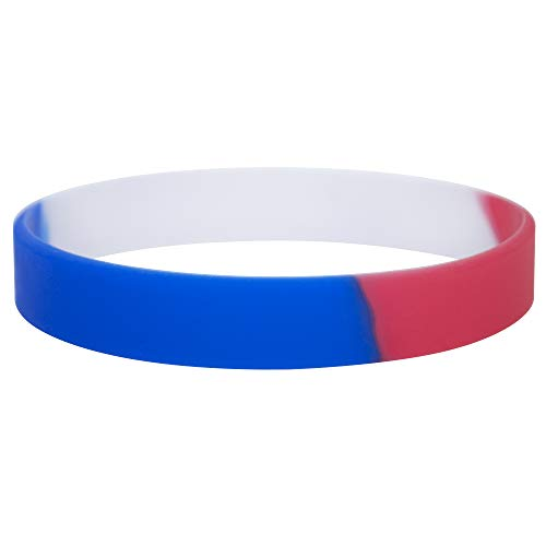 GOGO 24 PCS Red White Blue Silicone Bracelet Patriotic Wristbands Rubber American Bands USA 4th of July