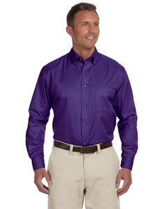 Harriton Mens Long-Sleeve Twill Shirt with Stain-Release (M500) -TEAM PURPL -6XL (Shop Apparel Long Sleeve Horns)