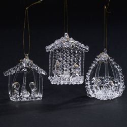 Spun Glass Nativity Ornament Set of 3