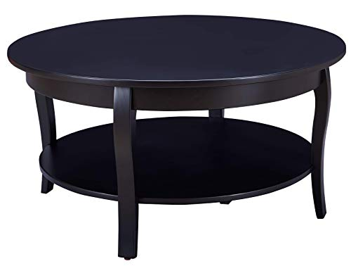 MUSEHOMEINC Hawaii Round Solid Wood Coffee Table with Shelf Storage for Living Room Curved Leg,Black Finish (Round Solid Wood)