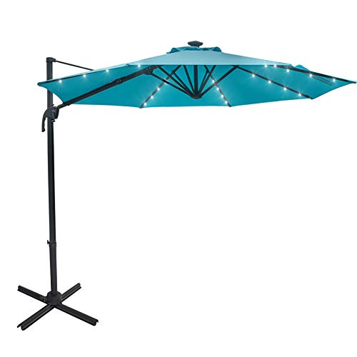 Sundale Outdoor 10 ft Solar Powered 28 LED Lighted Aluminum Offset Hanging Patio Umbrella with Crank and Cross Bar Set, Cantilever Umbrella for Deck, Garden, Backyard, Polyester Canopy (Blue)