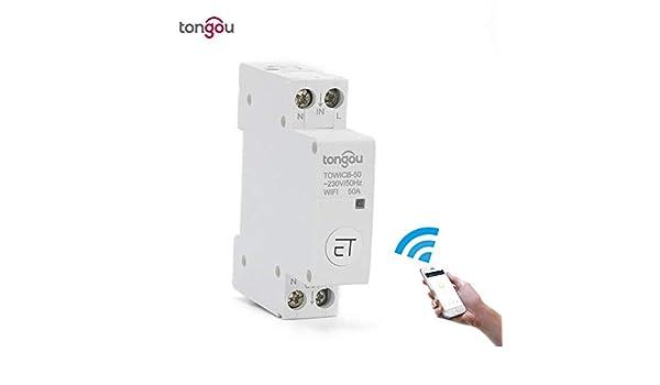 Disyuntores Control remoto del disyuntor WiFi por la aplicaci/ón eWeLink Control de voz con  Alexa Google Home Interruptor principal de riel DIN de 18 mm TONGOU-50A-16A