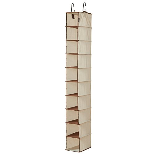 10 Shelf Hanging Shoe Organizer, Shoe Holder for Closet, 10 Mesh Pockets for Accessories, Breathable Polyester and Cotton, 5.5x11x54 inches Beige