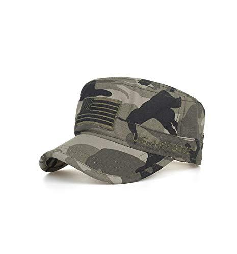 (Pausseo Sun Hat, Washed Cotton Military Caps Cadet Unique Design Vintage Flat Top Cap,UV Protective)