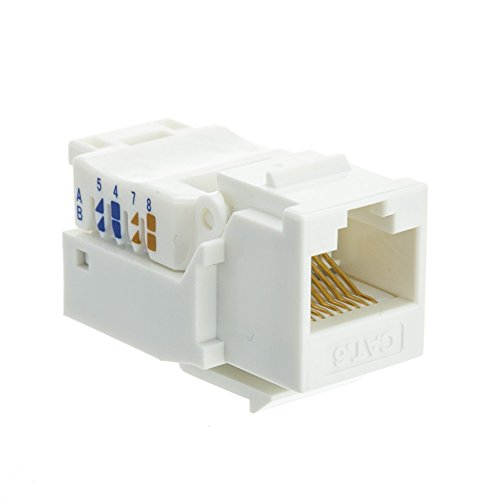 Cat6 Keystone Jack, White, Toolless, RJ45 Female - Inline UTP Lan Modular Patch Stand Punch Down (Hubbell Angled Faceplate)