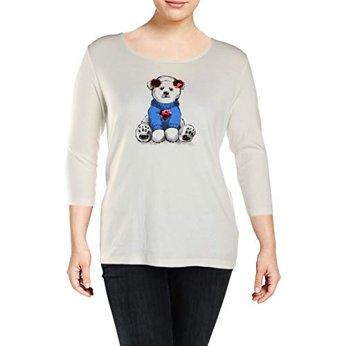 Karen Scott Womens Plus Sequined Polar Bear T-Shirt White -