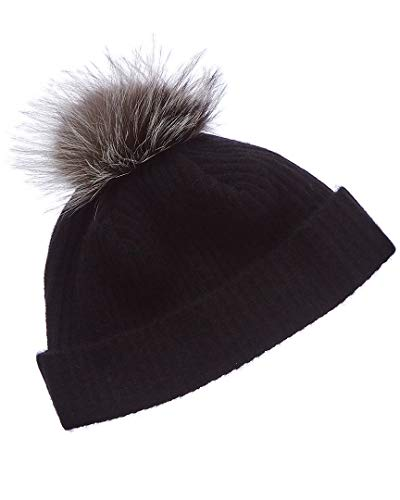 Portolano Womens Cashmere Hat with Fox Pom Black - Portolano Cashmere