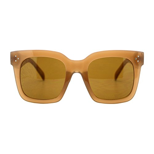 Womens Oversized Fashion Sunglasses Big Flat Square Frame UV 400 (tan, brown) (Sunglasses Womens Tan)