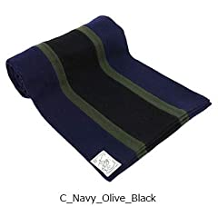 Wool Scarf: Navy / Olive / Black