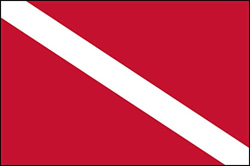 American Vinyl Scuba Dive Flag Sticker (diving diver banner red white gear love)