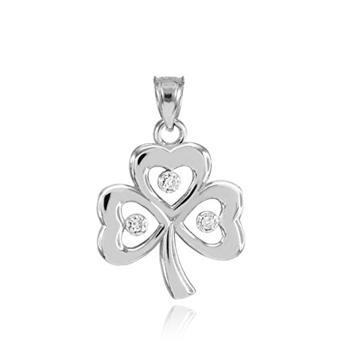 Diamond Shamrock Charm - 10k White Gold Three Diamond Clover Leaf Shamrock Charm Pendant