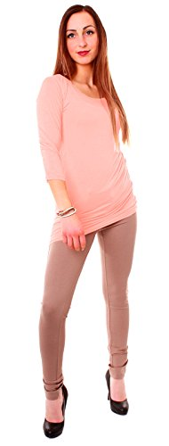 Easy Young Fashion - Camiseta - Túnica - Básico - Cuello redondo - para mujer Rosa