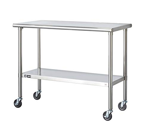 Trinity EcoStorage NSF Stainless Steel Table with Wheels, 48-Inch (Levelers Roll Off)