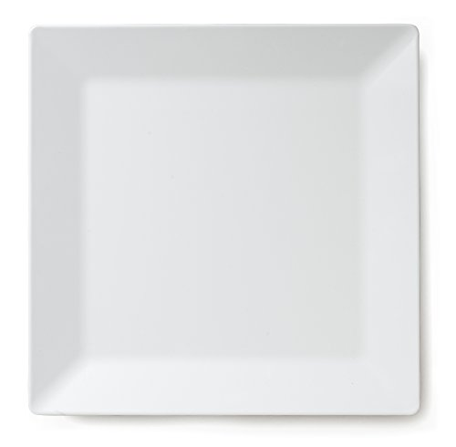 Q Squared Diamond White BPA-Free Melamine Square Platter, 14-1/2 Inches, White