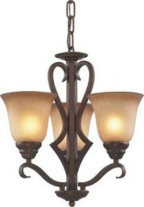 Elk 9326/3 3-Light Chandelier In Mocha and Antique Amber (3 Lawrenceville Chandelier)