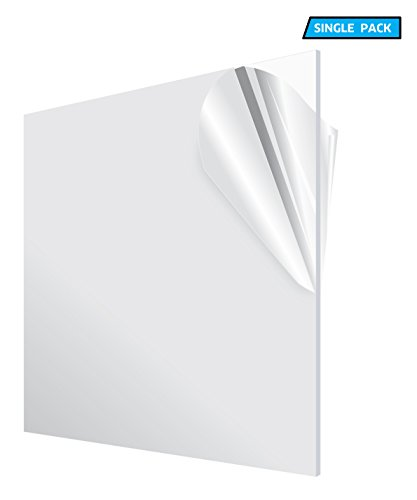 AdirOffice Acrylic Plexiglass Sheet - Transparent, Plastic Sheeting - Durable, Water Resistant & Weatherproof - Multipurpose & Ideal For Countless Uses 24''x24'' 1/8'' thick, Clear by AdirOffice