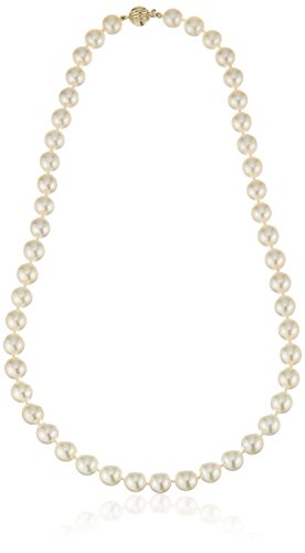 14k Yellow Gold 8-8.5mm AAAA Handpicked White Japanese Akoya Cultured Pearl Strand, 18""