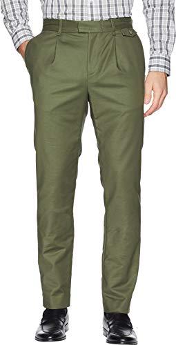 Calvin Klein Men's Slim Fit Flat Front Sateen Trouser Pant, Oak Leaf, 33W x 32L ()