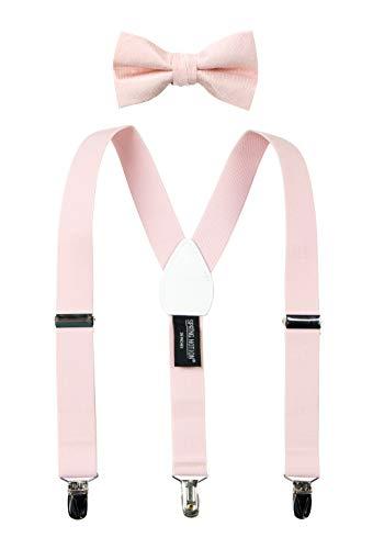 Spring Notion Boys' Suspenders and Polka Dot Bow Tie Set Blush Pink Medium