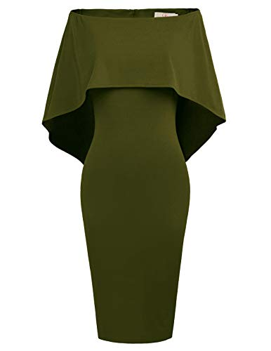GRACE KARIN Women Off Shoulder Batwing Cape Midi Dress S Army Green Cocktail Evening Club Dress